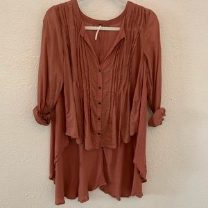 High/low long sleeve Free People blouse
